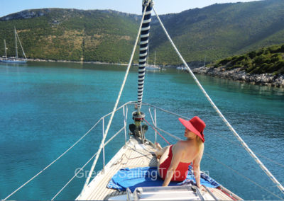 Enjoying sailing at the front, Ithaka