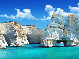 Milos island, Kleftiko bay cliffs
