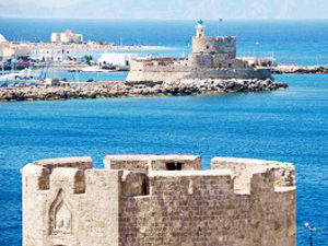 Rhodes old town and harbour entrance