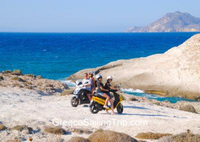 Island exploring on motorbikes, Milos island