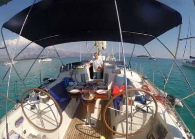 Lunch-time-onboard-Oceanis-510-Meganissi-Island-Greece