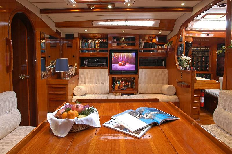Swan 65' salon and living area
