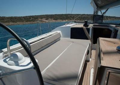 Dufour 560 sun bathing cockpit