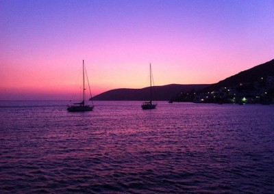Grand Soleil 46 purple sunset at Amorgos island